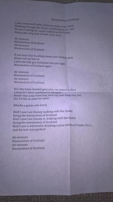 Joe Hill's singalong lyrics sheet - Werewolves of Scotland