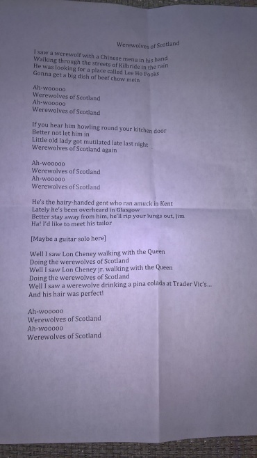 Joe Hill's singalong lyrics sheet - Werewolves of Scotland