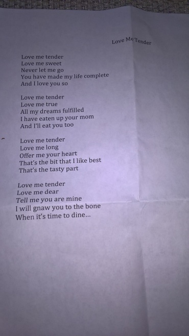 Joe Hill's singalong lyrics sheets - Love Me Tender